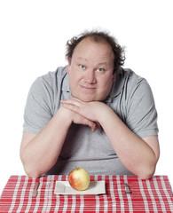homme obèse régime fruit pomme