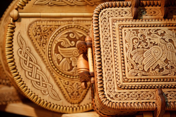 Beautiful boxes made of birch bark. Russian national crafts