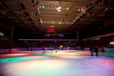 big covered skating rink with multi-coloured illumination