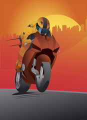Motorcycle vector great details and driver with helmet
