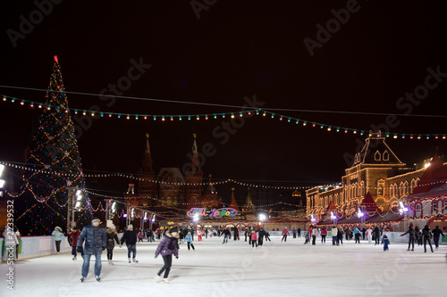 skating-rink on red square in moscow at night. GUM trading house