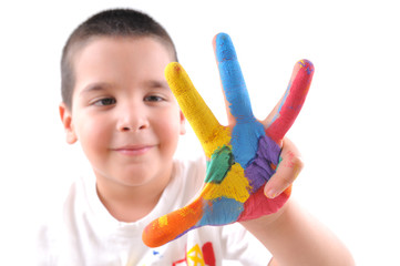 boys colorful hands with 4 fingers up