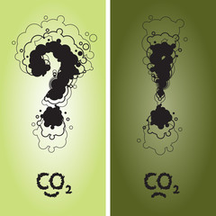 Question and exclamation mark with CO2 sign written as clouds