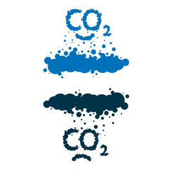 CO2 written as a black smoke clouds on white background
