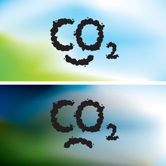 CO2 written as a black smoke clouds on clear and polluted sky