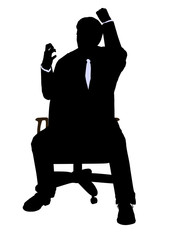 African American Casual Man Sitting On A Chair Silhouette