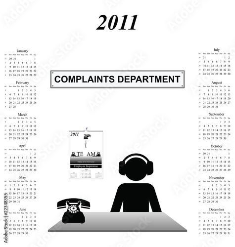 2011 calendar with worker in company complaints department