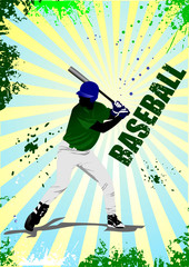 Baseball player poster. Vector illustration