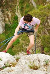 climber in rappel