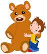 Cute kid hugging his big teddy bear