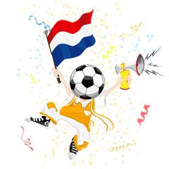 Dutch Soccer Fan with Ball Head