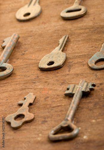 Old keys on an old background