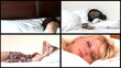 Animation of young women sleeping lying on bed