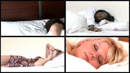 Animation of young women sleeping lying on bed
