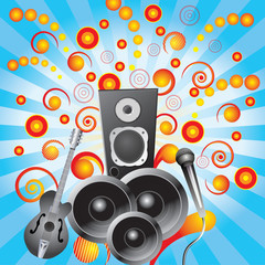 Abstract background with speakers, a guitar and a microphone.