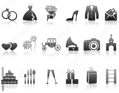Zestaw ikon minimalistyczne wesele