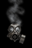 Gas mask with smoky background