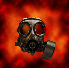 gas mask with fire