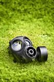 Gas mask on grass