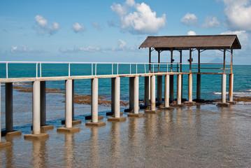 dock in receding sea