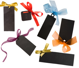 isolated black tags with ribbons