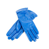 blue female leather gloves