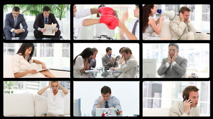 Business people stressed in office