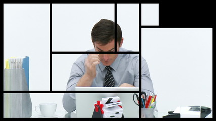 Animation of stressed people at work