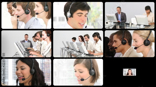 Coollage Footage of a buisness call centre
