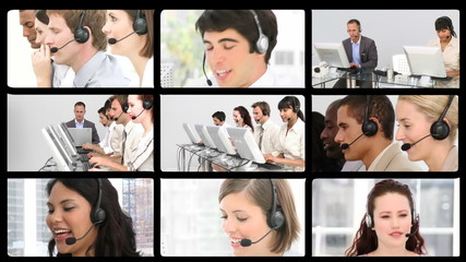 Many people at work in a call centre
