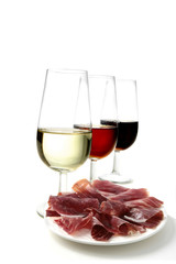 sherry wine and ham tapas
