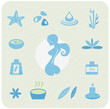 Health and wellness icons - blue vector. Vector Illustration