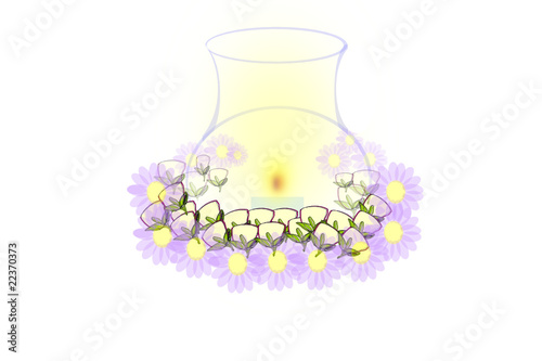 candle and flower centerpiece isolated vector