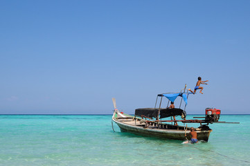Thai boat for tourist and beautiful sea
