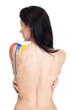 Back of woman with paint