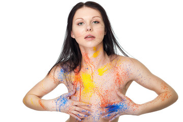 Beautiful sexy woman with colorful paint on her