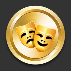 Comedy and Tragedy Masks on Golden Internet Button
