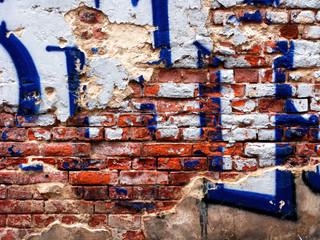 Ziegelsteinwand Graffiti neu