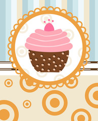 cupcake on retro background
