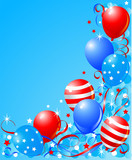 Balloons card for Fourth of July poster