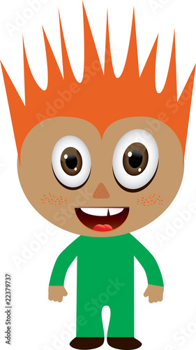 Red-haired boy in green costume, vector illustration