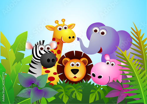 Tuinposter Zoo Cute animal cartoon in the jungle