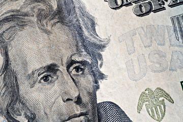 Close-up  of a twenty dollars banknote