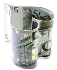 billets de 5 euros, forme coeur, fond blanc