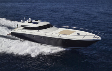 France, Cannes, luxury yacht CNM Continental 80', aerial view