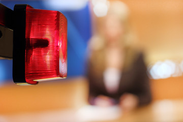 TV studio shallow DOF, focus on the red lamp - on Air sign