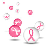 breast cancer pink & white ribbon icons poster