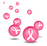 breast cancer white ribbon icons poster