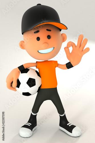 Постер, плакат: 3d мальчик спорт характер character подросток малыш , холст на подрамнике