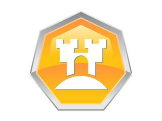 Heptagon Castle Logo Design Icon
